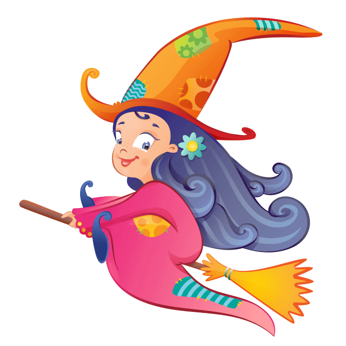 Wizards and Princesses Wall Stickers for Children, Little Witch Sticker