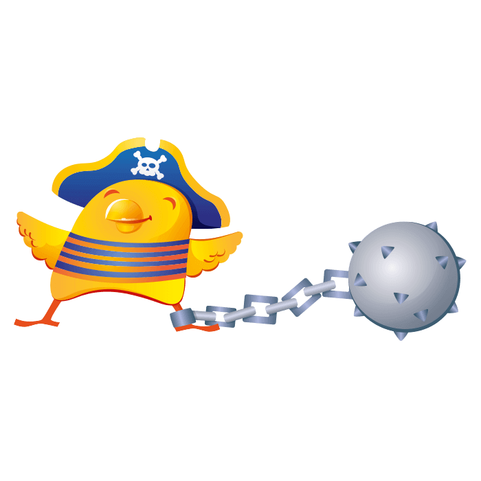 The Pirates Galleon Wallstickers for Children, Pirate Chick Sticker