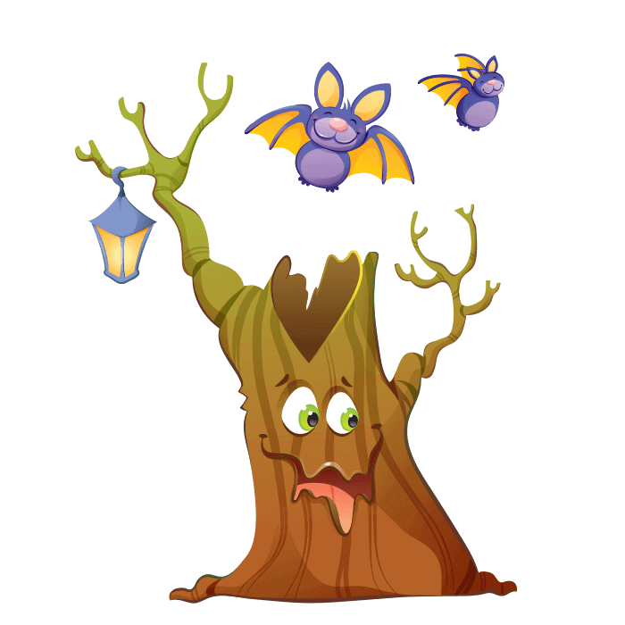 Wizards and Princesses Wallstickers for Children, Oak and Bats Sticker