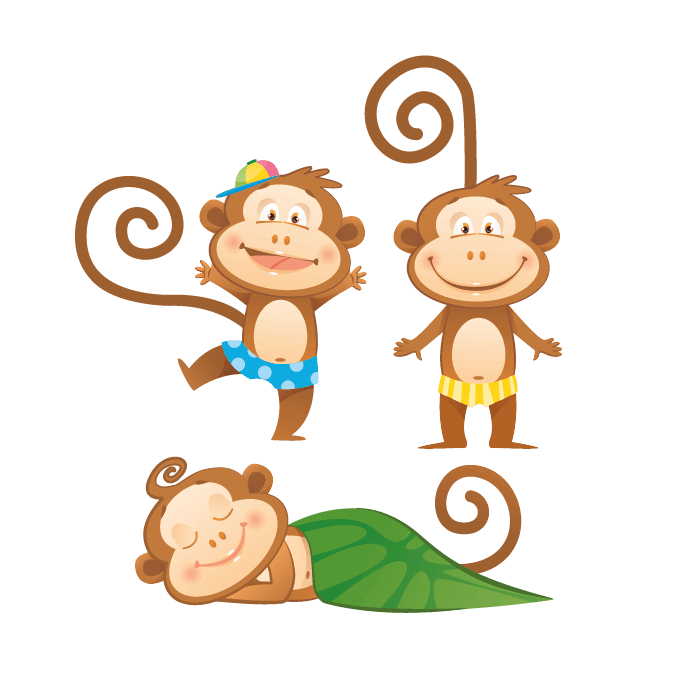 Jungle Wallstickers for Kids, Small Monkeys Sticker