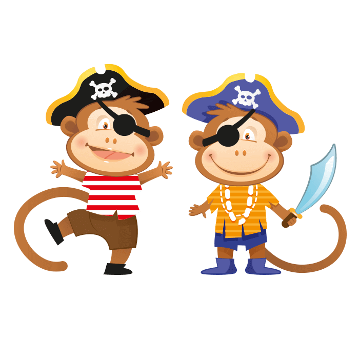 The Pirates Galleon Wall Decors for Children, Small Pirate Monkeys Sticker