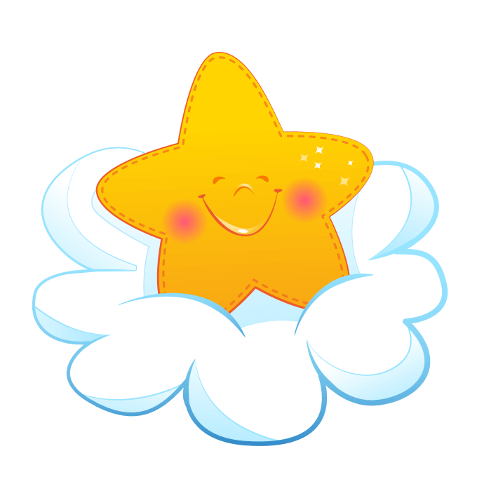 Wallsticker for Children Starlet on the Cloud Sticker