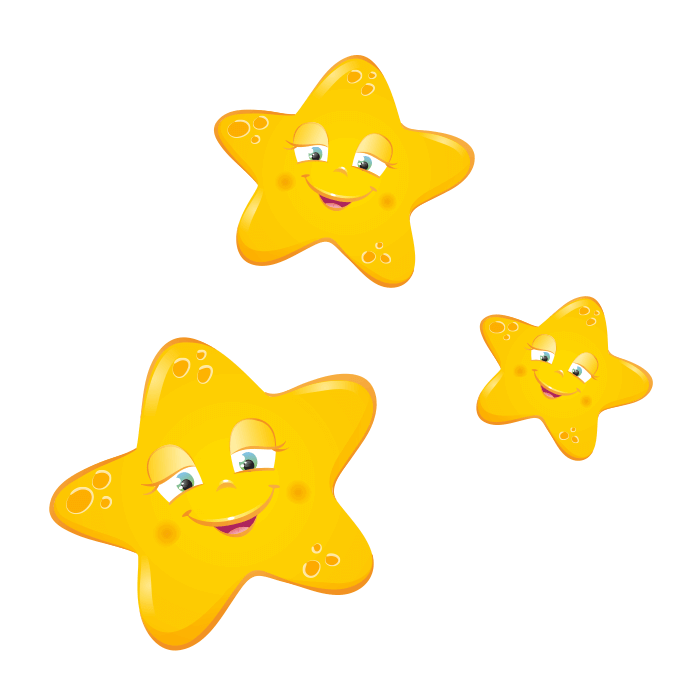 Moon and Stars Wall Decals for Children,Smiling Starlets Sticker