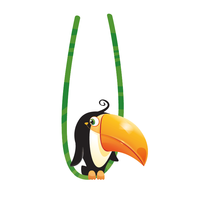 Jungle Wallsticker for Kids Rooms, Toucan Wall Adhesive