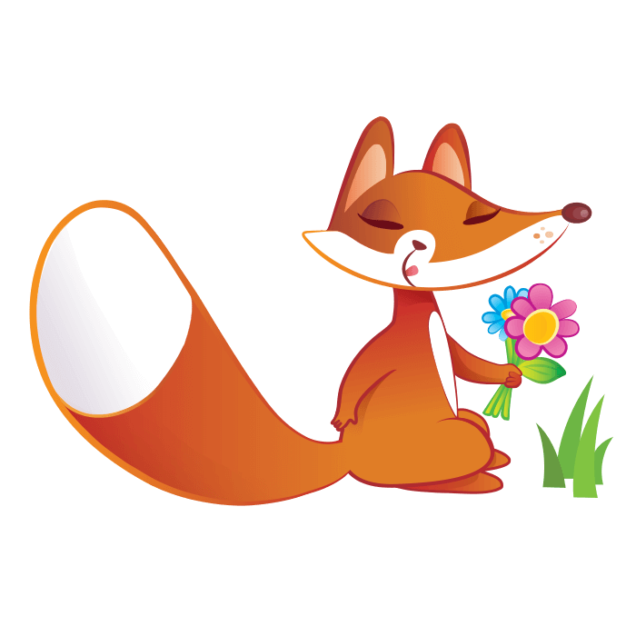 The Friends of the Wool Wallstickers for Kids, Fox with Flowers Sticker