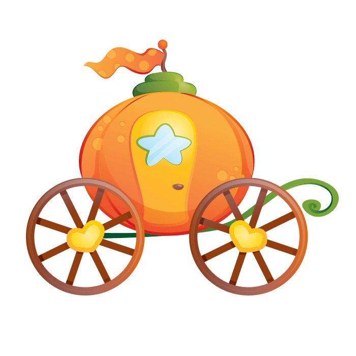 Wizards and Princesses Wallstickers for Kids, Pumpkin Carriage Sticker